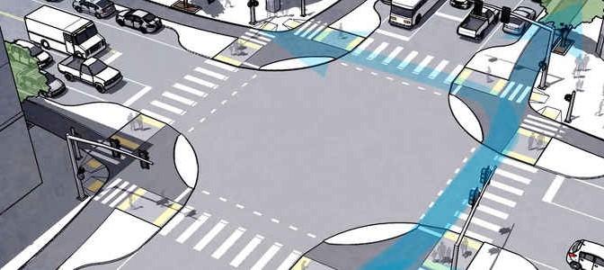 Vorschlag für Radverkehr an Kreuzungen in den USA