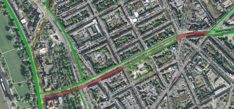Radweg Klever Straße - Vorschlag