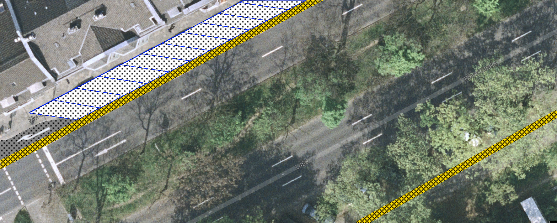 Radweg Klever Straße - Vorschlag im Detail