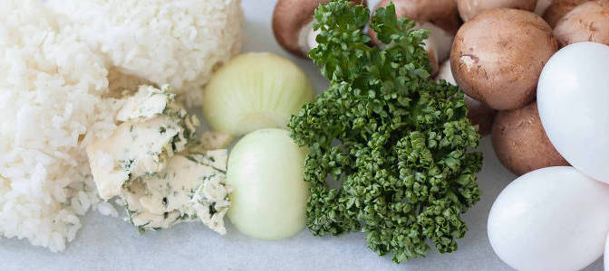 Snacks für Fahrradtouren – Gorgonzola Frittata mit Pilzen Rezept