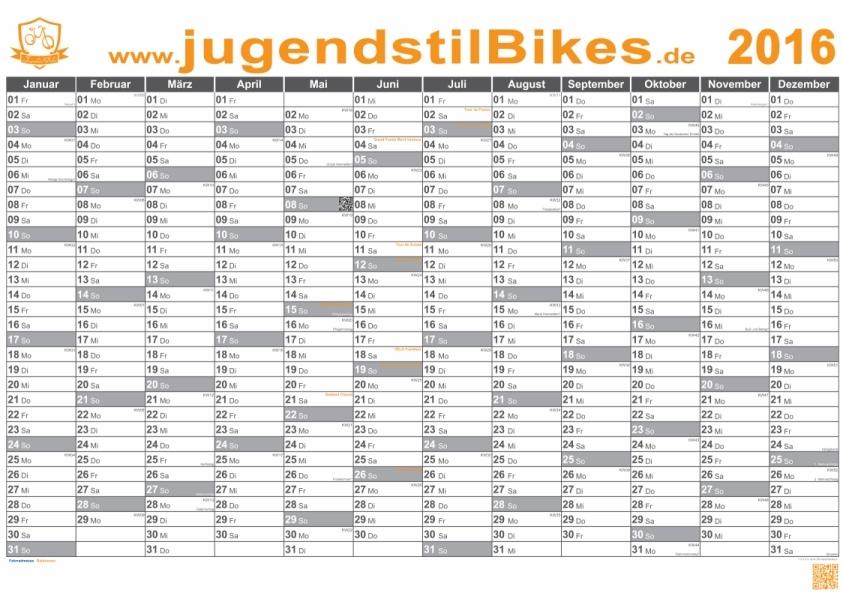 Jugendstilbikes Termine Wandkalender 2015