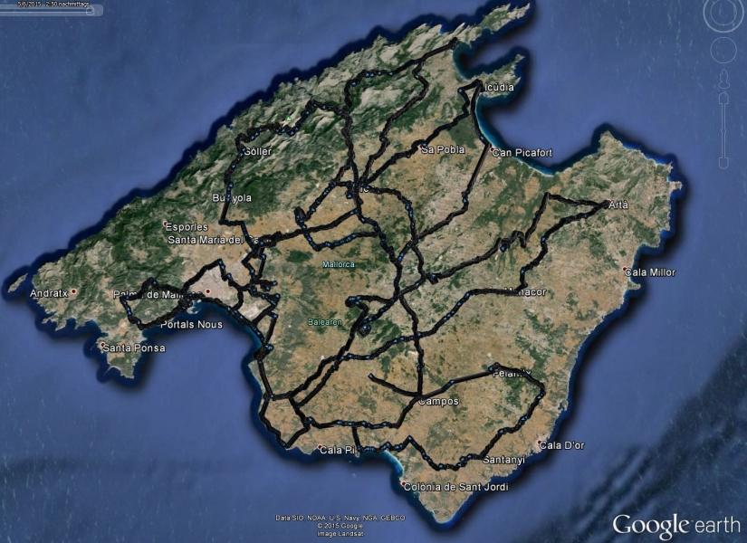 JugendstilBikes Mallorca 2015 Strecken GoogleEarth Sat