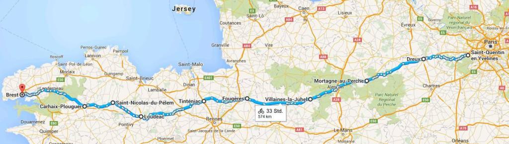jugendstilBikes Paris - Brest - Paris Route