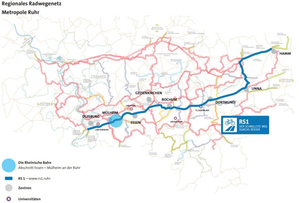 jugendstilBikes Radschnellweg Ruhr RS1 Map