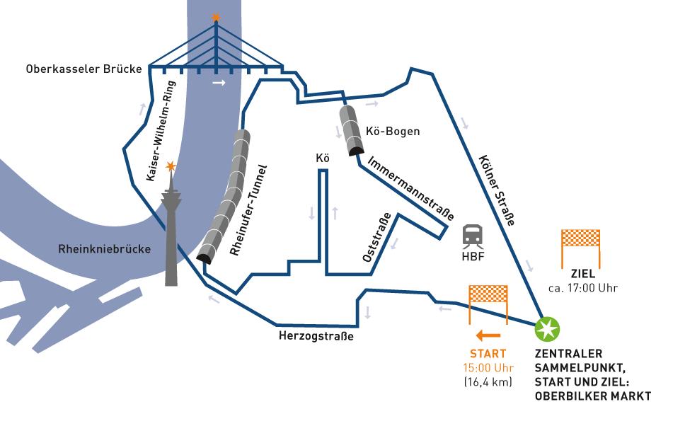 jugendstilBikes Sternfahrt Karte Düsseldorf 16